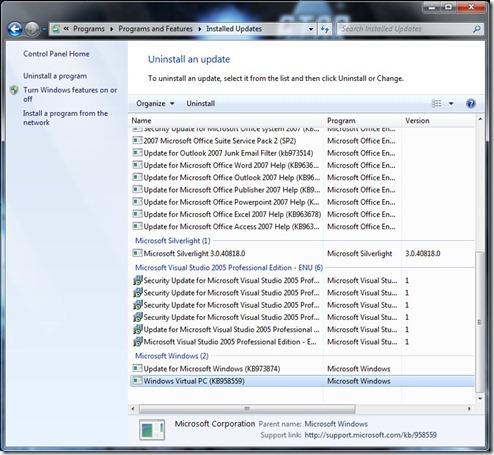 Uninstall Windows Virtual PC
