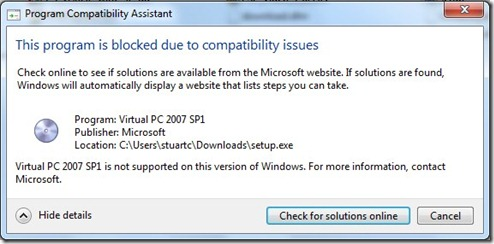 Virtual PC 2007 Installation Message