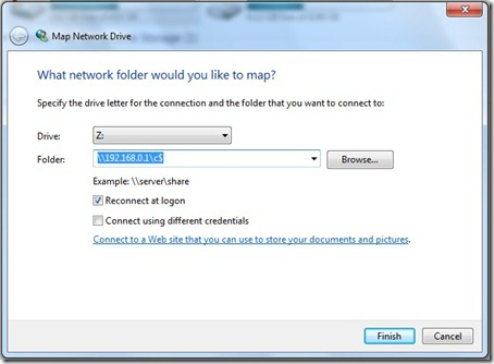 Map network drive wizard in Windows 7