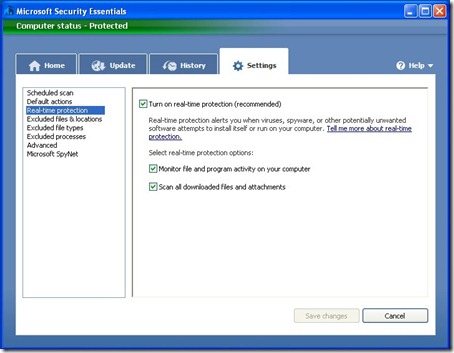 Microsoft Security Essentials - Settings