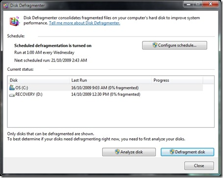 Windows 7 disk defragmenter