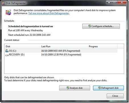 Windows 7 disk defragmenter